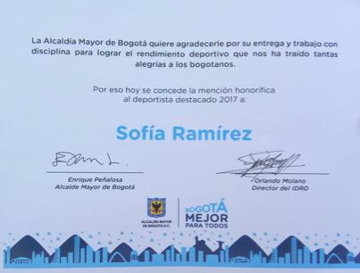 Alcaldía Mayor de Bogotá  entrega mención de honor a deportista SportPower2